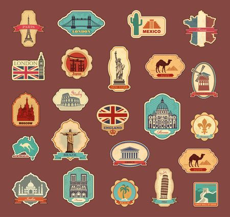 Ilustración de Travel stickers and symbols different countries - Imagen libre de derechos