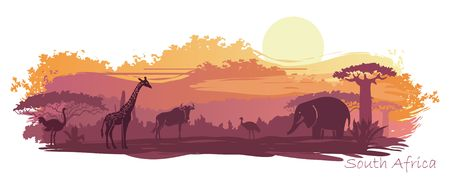 Illustration pour Wild animals in the backdrop of the African sunset - image libre de droit