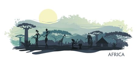 Illustration pour Sunset in Africa with the silhouettes of national housing, baobabs, acacia, giraffe and natives - image libre de droit