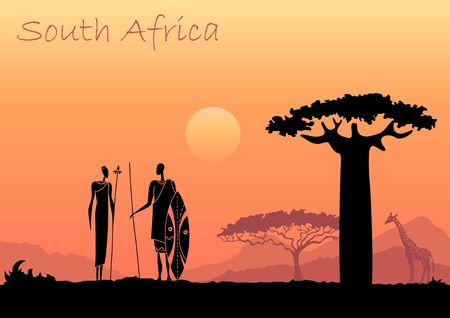 Illustration pour African sunset landscape with silhouettes of people, animals and trees - image libre de droit