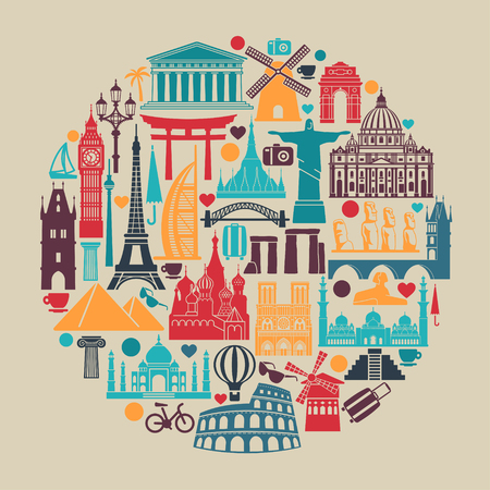 Illustration pour Symbols of architectural monuments and world tourist attractions in the shape of a circle - image libre de droit