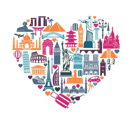 Illustration pour Symbols of architectural monuments and world tourist attractions in the shape of a heart - image libre de droit