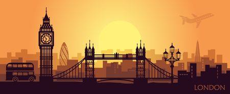 Illustration pour Stylized landscape of London with big Ben, tower bridge and other attractions - image libre de droit