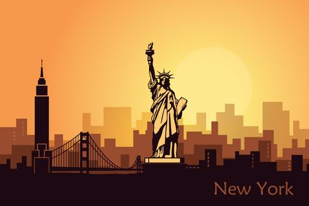 Illustration pour Stylized landscape of new York with the sights of the United States. Abstract skyline at dawn - image libre de droit