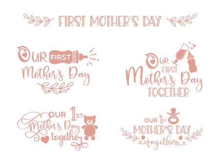 Illustration pour Our first Mothers Day together- lettering set with illustrations - image libre de droit