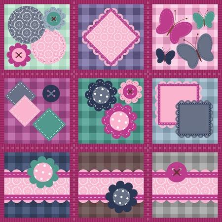 Ilustración de patchwork set seamless with different scrapbook objects - Imagen libre de derechos