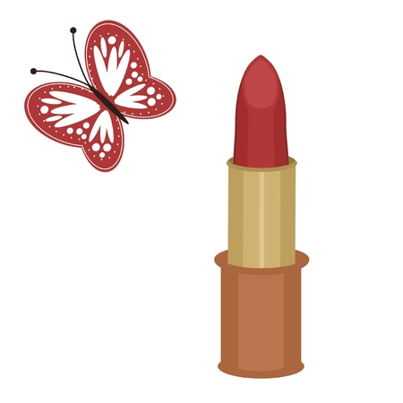 lipstick and butterfly on white background