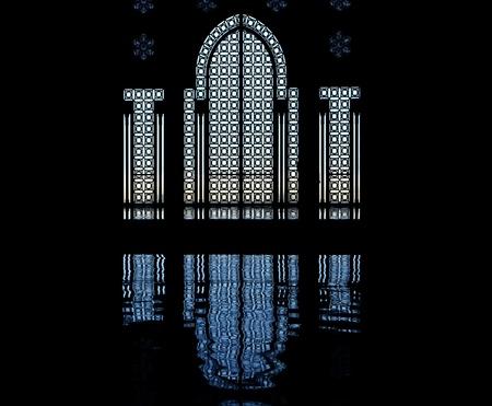Silhouette of door and window, King Hassan II Mosque, Casablanca