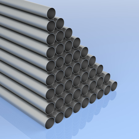 Stack of Metal Cylinder. Isolated On Blue. 3D Rendering
