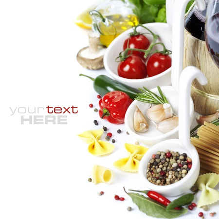 Italian food. Ingredients for cooking (tomatoe, garlic, pepper, mushroom, bay leaves, olives, olive oil) With wine over white (with easy removable sample text)