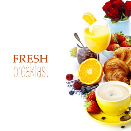 Breakfast with croissants, coffee and orange juice  (with easy removable text)
