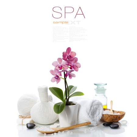 spa composition with beautiful pink orchid over whiteの写真素材