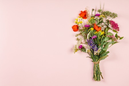 Wild flower bouquet on pastel color background. Top view, flat lay