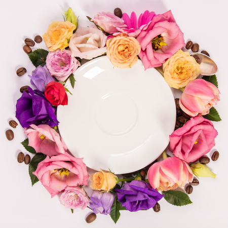 Photo for Still life composition with plate and flowers - Royalty Free Image