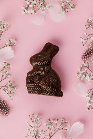 Photo for Chocolate Easter Bunny, feathers and flowers on pastel pink - Royalty Free Image