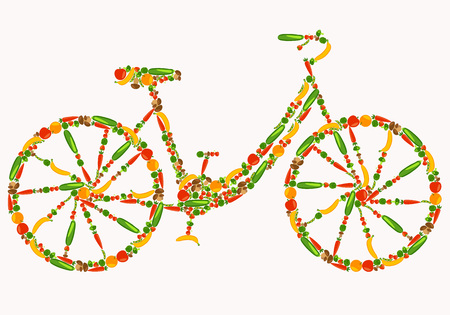 Foto für Vegan bicycle. Healthy lifestyle. Beautiful background with fruits, vegetables, berries and mushrooms. Vector color illustration - Lizenzfreies Bild