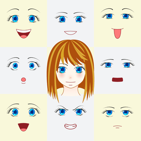 Set Of Faces In Manga Style Cute Anime Eyes And Mouths Different
