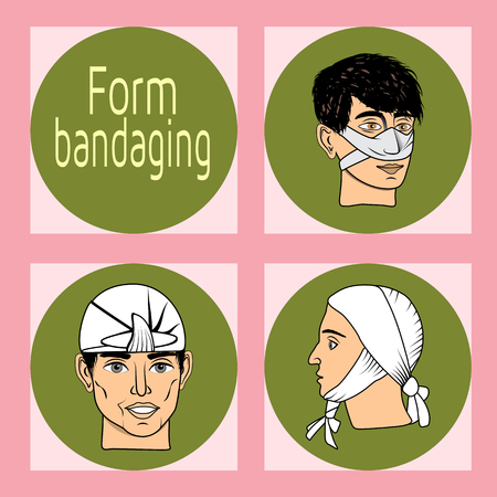 Designation of injury, fracture, contusion. Bandaged body. First aid. The first aid to the victim. The medical indication. Bandage. Bandage. Vector illustration