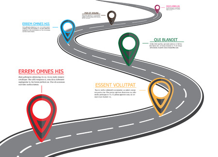 Illustration pour Street road map, business infographics with colorful pin pointer, illustration - image libre de droit