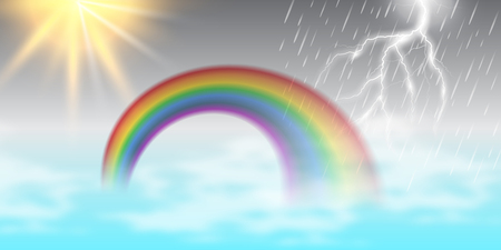 A vector cartoon illustration of a beautiful summer landscape with sun, rainbow, rain, and thunder. Good for banner, poster, and template.