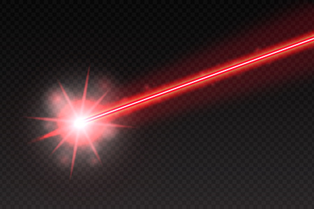 Illustration pour Abstract red laser beam. Magic neon light lines isolated on checkered background. Vector illustration - image libre de droit
