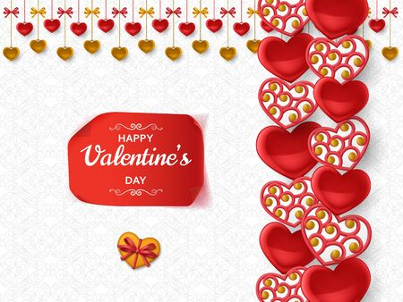 Illustration pour Happy Valentine Day background with glossy hearts. Greeting card and Love template. Vector illustration. - image libre de droit