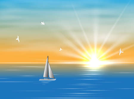 Illustration pour Sailing ship floating in the ocean in the morning. A silhouette of a boat with sails floating on the sea during the day. Realistic picture of the sea and seagulls. Yellow Sun and clouds and sea in background - image libre de droit