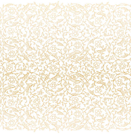 Illustration pour Arabesque Arabic seamless floral pattern. Branches with flowers, leaves and petals. Vector illustration. - image libre de droit