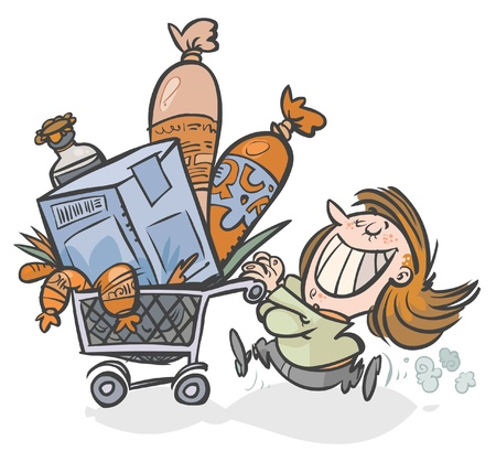 Cartoon image of a Woman with a full Shopping cart