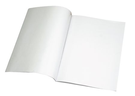 Blank magazine spread isoalated on white with a clipping path (Insert your own design or content). Could also be used as a test, contract and etc.