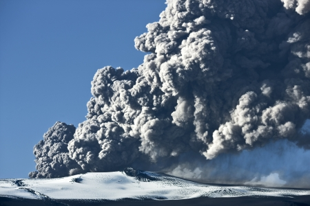 Ash cloud rising from the Eyjafjallajokull volcano in Iceland