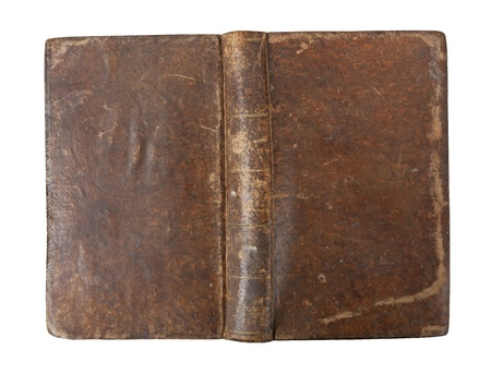 Old book with wear and tear isolated on white background