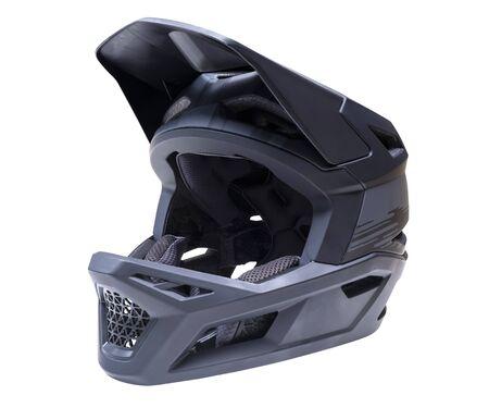 Photo pour Mountain bike helmet isolated on white  - image libre de droit
