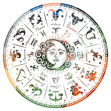 Ilustración de A zodiac signs, horoscope, vector illustration - Imagen libre de derechos