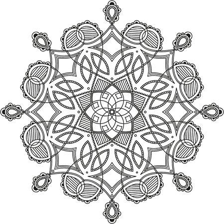 Illustration pour black and white round symmetrical pattern. fancy decorative mandala - image libre de droit