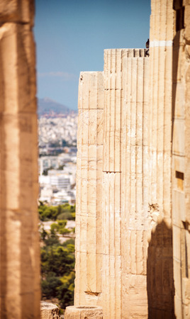 Greece Athens columns in Acropolis