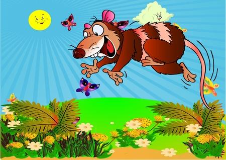 Illustration pour Opossum hunter. Picture for animation and  literature. Vector - image libre de droit