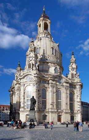 Frauenkirche (Church of Our Lady) and Monument to Martin Luther in Dresden, Germany