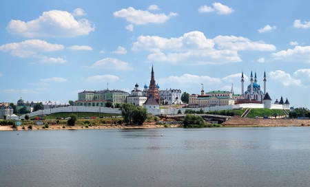 View of the Kazan Kremlin from the Kazanka River, Republic of Tatarstan, Russia