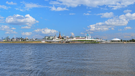 Panorama of the Kazan Kremlin, Republic of Tatarstan, Russia. The panorama shows the main landmarks of the Kremlin: Presidential Palace, Soyembika Tower, Annunciation Cathedral, Qolsharif Mosque.