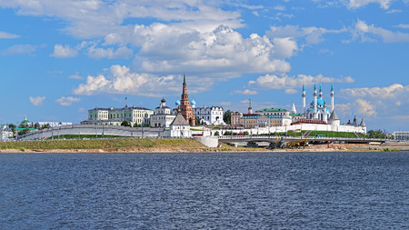 Kazan, Republic of Tatarstan, Russia. View of the Kazan Kremlin with: Presidential Palace, Soyembika Tower, Annunciation Cathedral, Qolsharif Mosque from the Kazanka River.