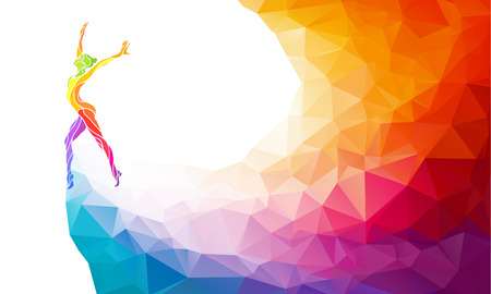 Foto de Creative silhouette of gymnastic girl. Art gymnastics, colorful illustration with background or template in trendy abstract colorful polygon style and rainbow back - Imagen libre de derechos