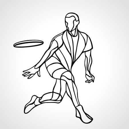 Sportsman throwing ultimate frisbee. Lineart clipart, vector illustration