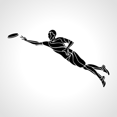 Sportsman throwing frisbee. Lineart clipart, vector illustration
