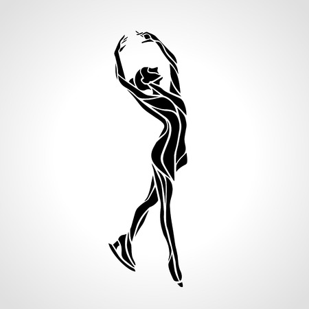 Winter sport. Ladies figure skating silhouette.  Ice show.
