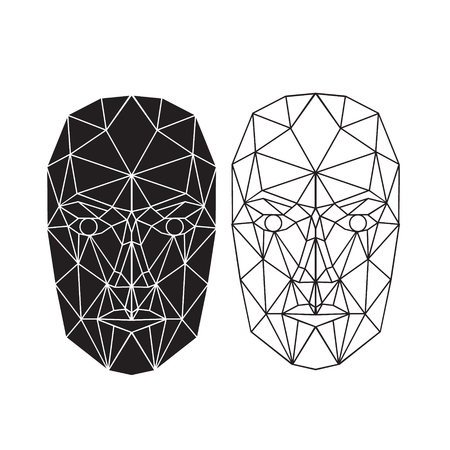 Illustration for Triangle abstract human face, front view. Vector illustration. Concept of 3d Face recognition. Vector illustration - Royalty Free Image