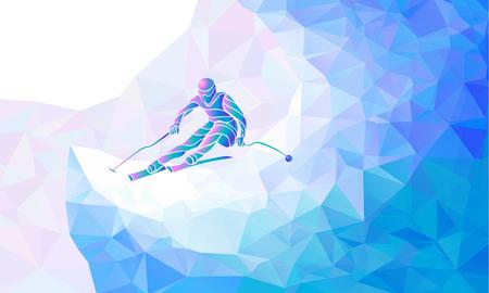 Illustration pour Ski downhill. Creative silhouette of the skier. Giant Slalom Ski Racer. Vector illustration - image libre de droit