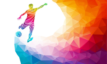Ilustración de Creative soccer player. Football player kicks the ball, colorful illustration with background or template in trendy abstract pectrum polygon style and rainbow back - Imagen libre de derechos