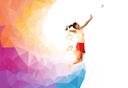 Ilustración de Unusual colorful triangle background: Geometric polygonal professional badminton player,  during smash - Imagen libre de derechos