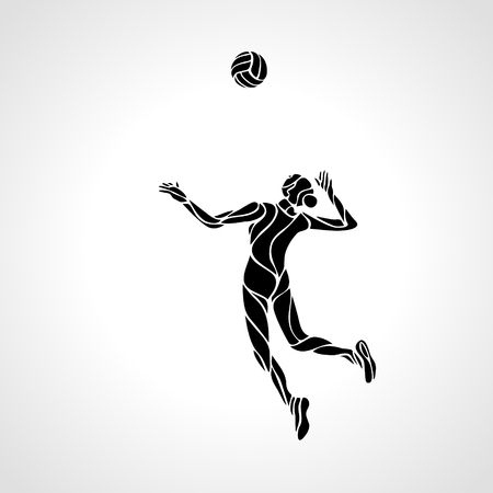 Illustration for Stylized line design of a female volleyball player getting ready to spike the ball Volleyball player serving the ball - black vector silhouette. Modern simple volleyball. - Royalty Free Image